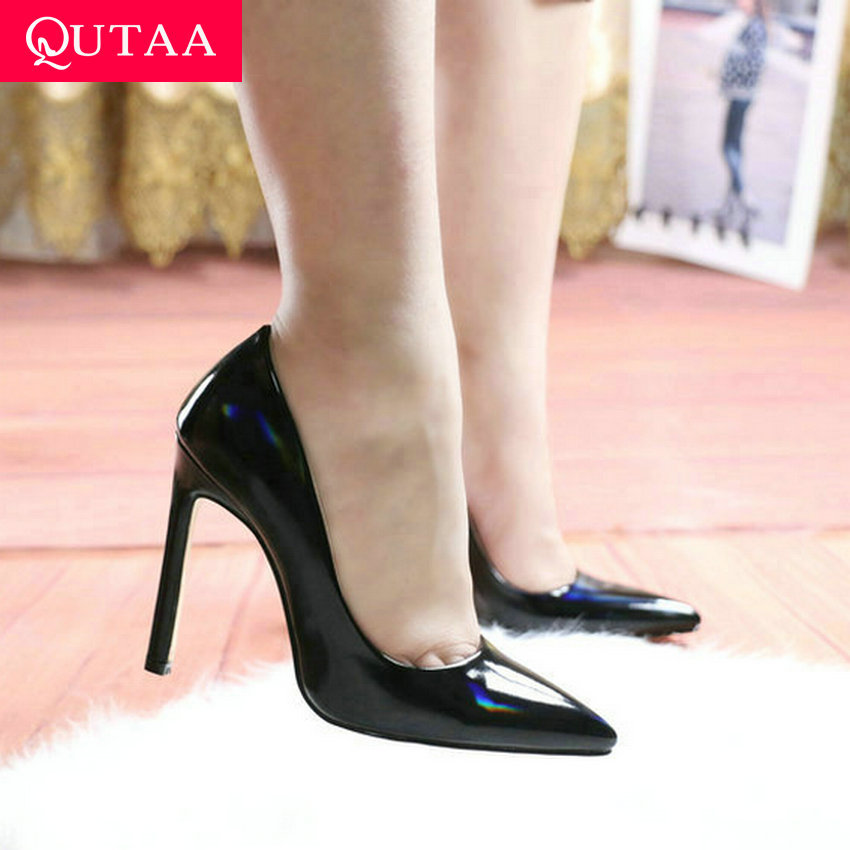 QUTAA 2020 PU Leather Sexy Pointed Toe Stilettos Shallow Wedding Women Shoes Thin High Heel Fashion Women Pumps Big Size 34-43