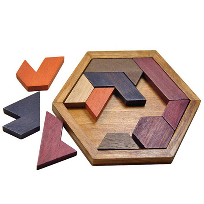Wood Educational Early Learning Wooden Puzzles Heart-shaped Tangram Jigsaw Board Game Toys For Children Kids Gift