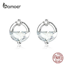 bamoer Design Water Stud Earrings for Women Clear CZ 925 Sterling Silver Ear Studs Jewelry Korean Fashion Jewelry BSE167(China)