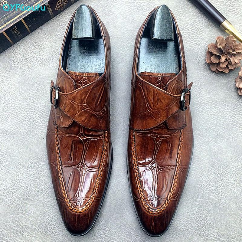 Formal do Casamento dos Homens de Negócios Sapatos de Crocodilo Couro de Vaca Oxford para Homens Qyfcioufu Flats Genuíno Monge Tira Sapatos Sapato 2020