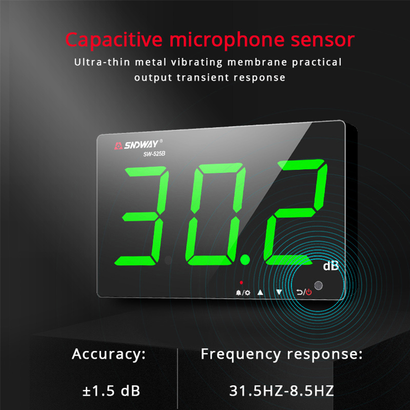 Tools : Sndway Wall-mounted Sound Level Meter 30-130 db Noise Meter Green Light Digital USB Charging Measuring Decibel Monitoring Noise