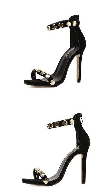 Designer Woman Sandals Black Peep Toe Block High Heels Pumps Buckle Strap Metal Gold circle Suede Stilettos sandalias mujer Uncategorized Fashion & Designs Ladies Shoes Women's Fashion