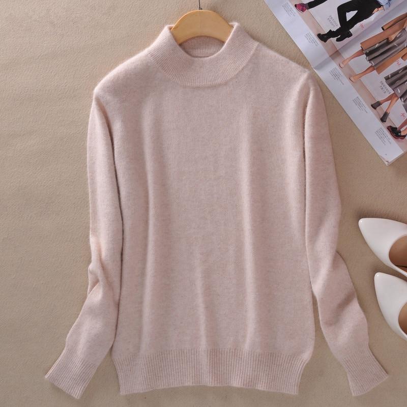 Пролет и есен НОВА женска половин висок кръг на врата Кашмир Blending пуловери тънък мода Плътен цвят плетен вълнен пуловер