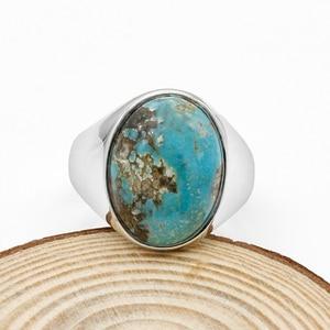 Image 3 - Prawdziwe 925 srebro pierścionek dla człowieka z niebieski kamień naturalny Vintage eleganckie pierścionki mężczyzna kobiet Unisex turecki ręcznie robiona biżuteria