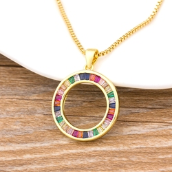 Fashion Rainbow Necklace Multicolor Pendants Charm Gold Color Jewelry Long Chain Necklace For Women Best Birthday Party Gift