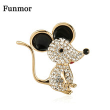 Funmor Cute Mouse Brooch Animal Pin Crystal Enamel Jewelry For Kids Women Daily Party Accessories Corsage Alloy Ornaments Gifts