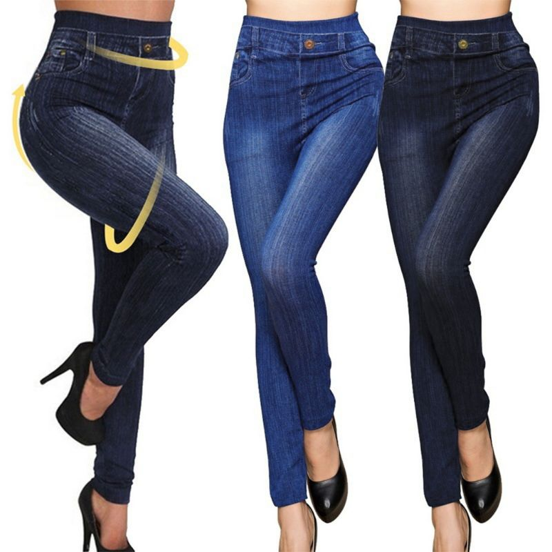 Women New Classic High Waist Slim Leggings Imitation Jeans Seamless Pencil Pants