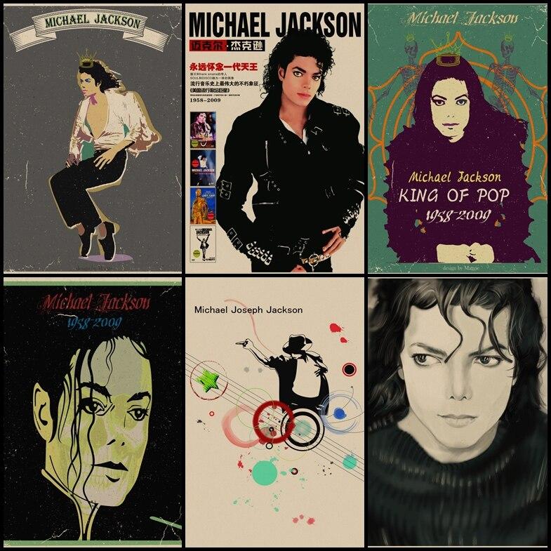 Купить три отправить один Майкл Джексон винтажный крафт-арт-плакат для дома Гостиная Бар кофе бар украшение живопись