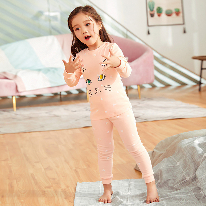 New Style Pure Cotton CHILDREN'S Underwear Suit Spring And Autumn Warm Girls Baby Thermal Underwear Air Conditioning Clothes Paj