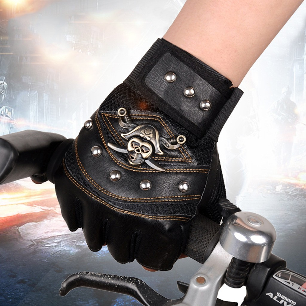 Skull Non-slip Shock Absorption Motorcycle Gloves Outdoor Sports Cycling Racing Riding Half Finger Protective Gears Moto Guantes