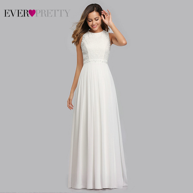 Long Evening Dresses 2020 Ever Pretty Elegant Beading A Line Pleated Chiffon Lace Formal Dress Party Gown EP07391 robe de soiree 8