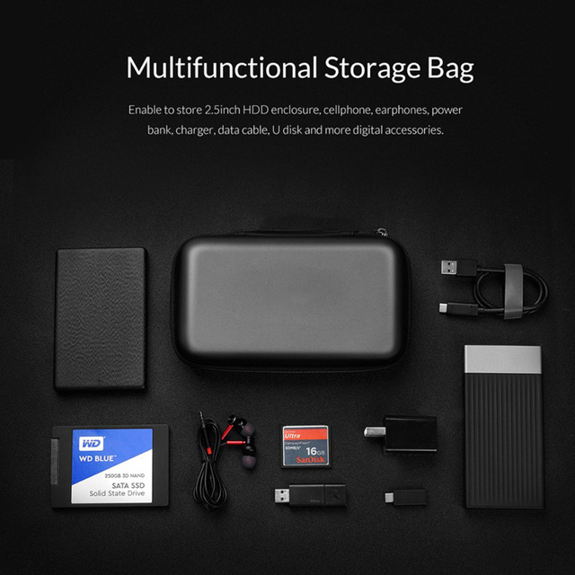 External Storage Hard Case HDD SSD Bag For 2.5 Hard Drive Power Bank USB Cable Charger Power Bank Earphone Headphone Cases Black 6