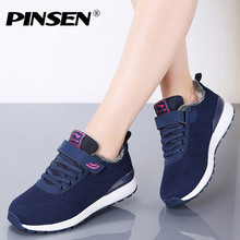 PINSEN 2019 Autumn Winter Sneakers Women Casual Shoes Lace-up Basket F