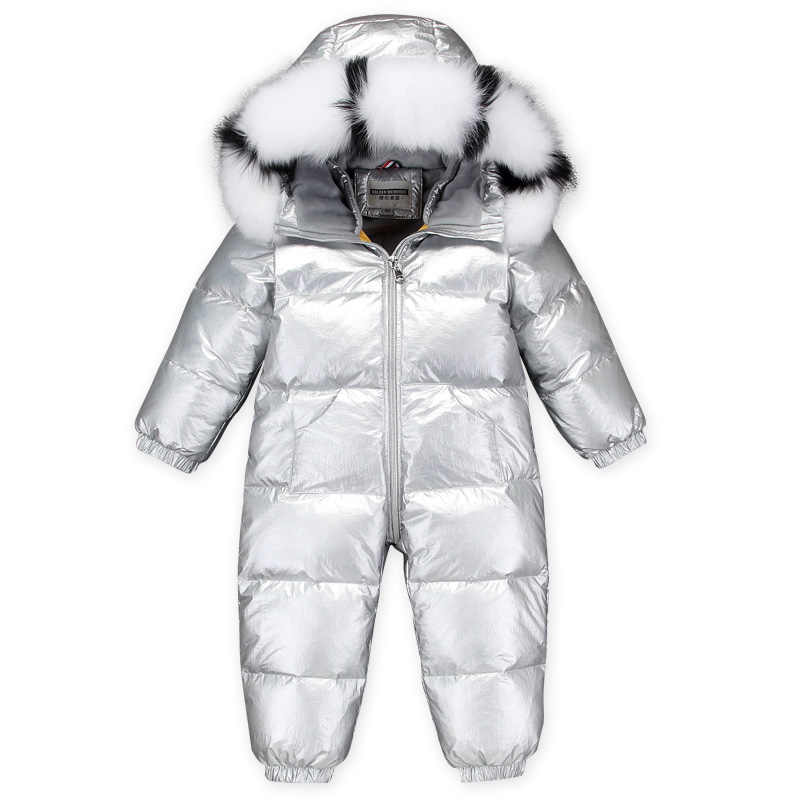 -30 degrees children's silver down jackets + natural fox big fur collar Boys conjoined down jackets Girls Warm thickeni ski suit