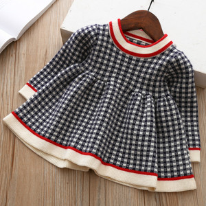 New Baby Girls Winter Plaid Sweater Dresses Clothes Toddler Infant Christmas Knitted Dress Children Kids Autumn Spring Clothing(China)