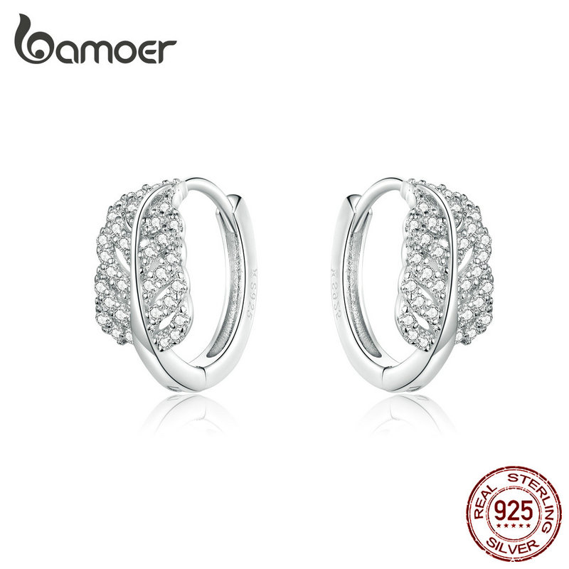 bamoer Luxury Feather Hoop Earrings for Women Wedding Engagement Statement Jewelry 925 Sterling Silver Bijoux 2019 New SCE772(China)