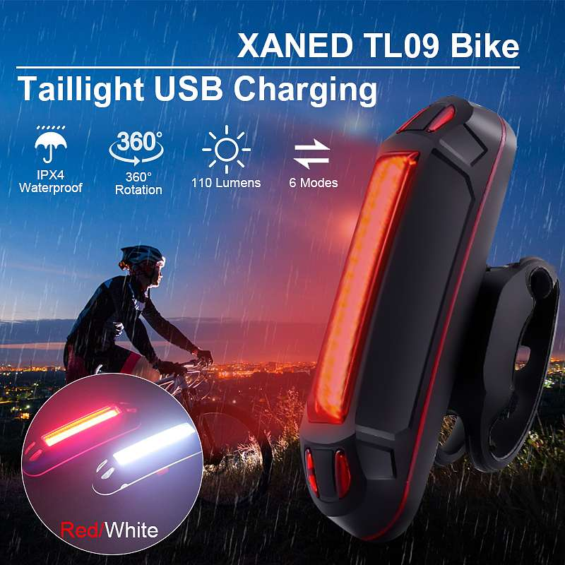 XANES TL09 110LM 6 Modes Bike Tail Light 360° Rotation USB Charging IPX4 Waterproof Warning Light  For Camping Torch Lantern