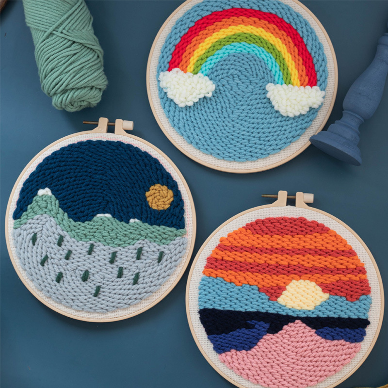 DIY Kniting Easy Punch Needle Embroidery Kits With Hoop For Beginner Embroidery Needlework Wool Work Handmade Sewing Craft Gift