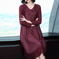 2019 New spring autumn Women Large Size Embroidered Long Sleeve Retro Dresses V neck Middle aged Fake two piece dress cc1422