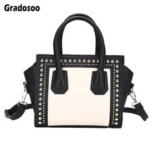 Gradosoo Rivet Designer Top-handle Bag Women Leather Handbags Panelled Shoulder Bags For Famous Brand Messenger HMB650