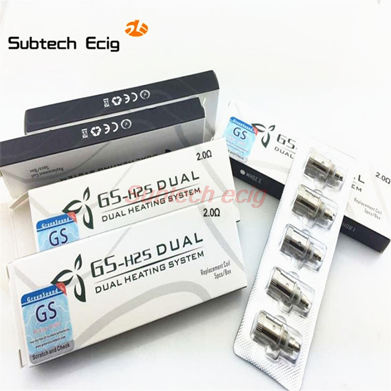 5pcs GS H2S Dual Coils V-Core III Atomizer Coil Head 1.8ohm 2.0ohm 2.2ohm Bottom Coils For GreenSound Clearomizer Updated Ego H2