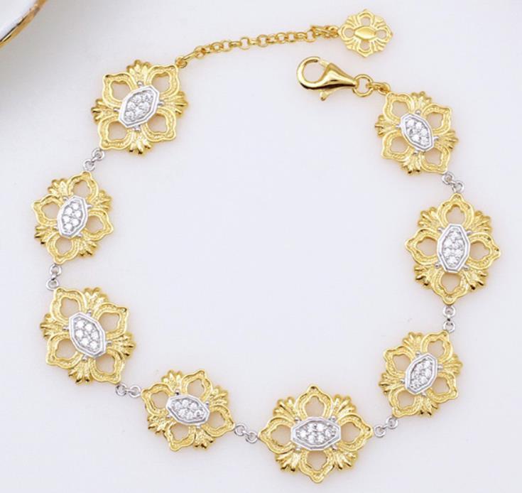925 пробы серебряные ювелирные изделия Модный золотой Геометрический Цветочный браслет великолепные полые цветы браслет серебряная цепочка цветок браслет - 2