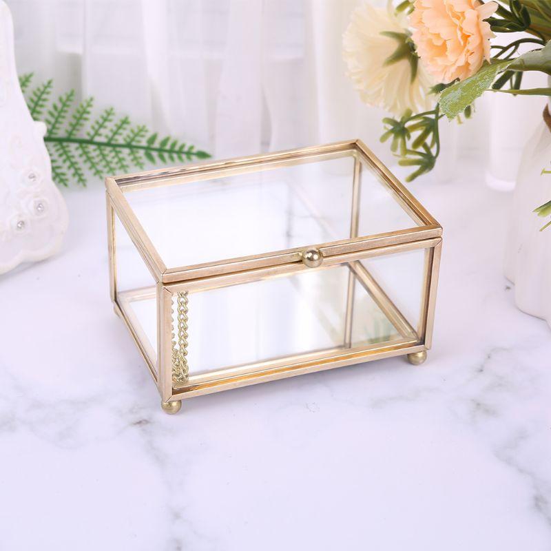 Rustic Wedding Ring Box Geometric Transparent Glass Jewelry Display Storage Hold