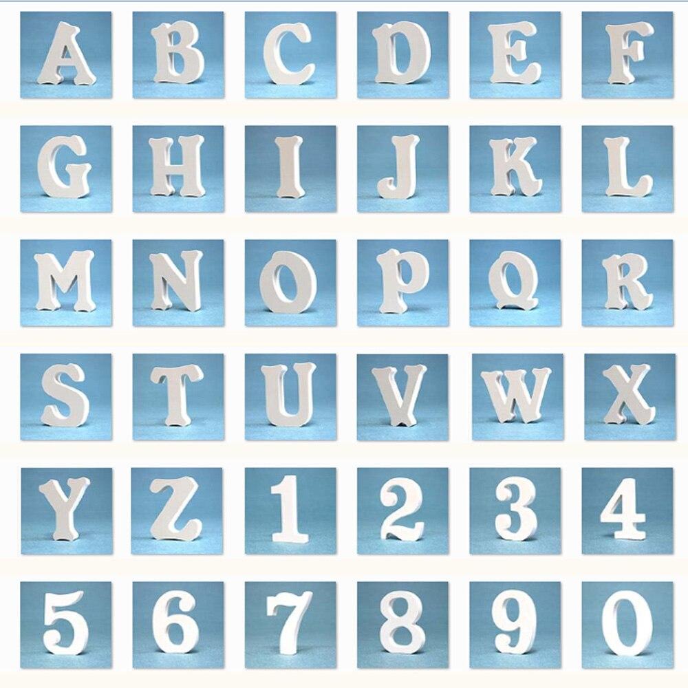 Купить с кэшбэком 1pcs 20MM thicknes White Wooden Letter Alphabet DIY Personalised Wood Name Design Art Craft Heart & Crown For Wedding Home Deco