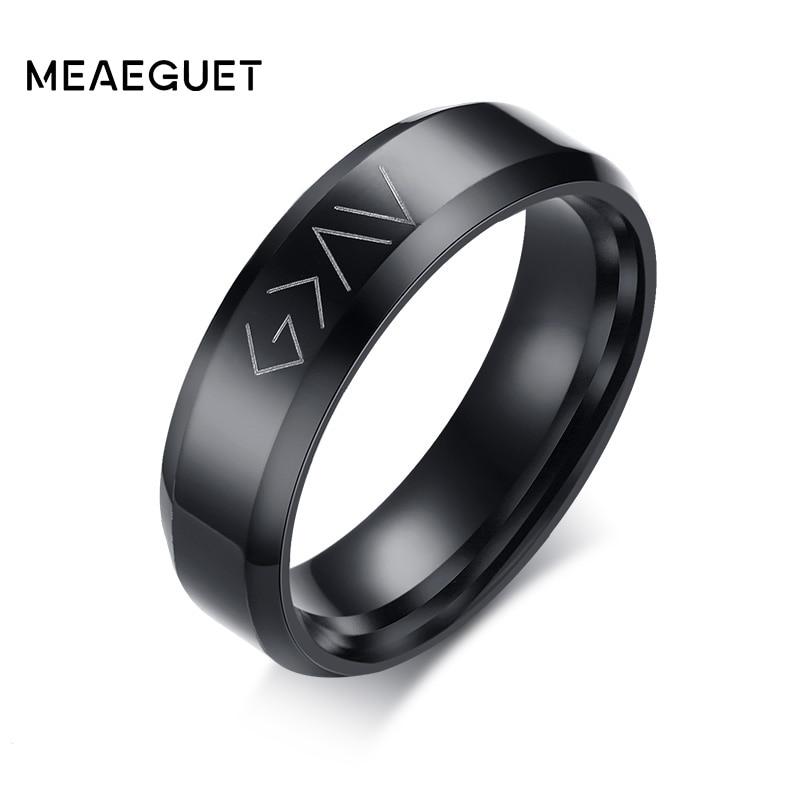 God es más grande que los agudos y los bajos, anillo de boda de acero inoxidable para hombre, joyería