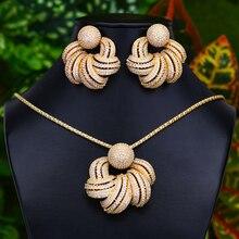 GODKI Conjunto de pendientes y pendientes de flores para mujer, accesorios de circonita cúbica completa, joyería, pendientes para mujer de moda 2020