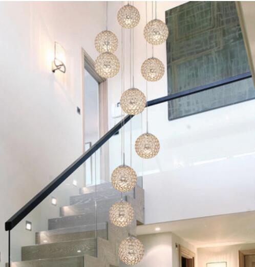 Living Room Designed Long Stair Chihuly Style Round Foyer Modern Gold Crystal Chandelier Lighting Fixtures For High Ceilings