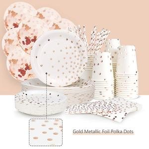Image 5 - 300 Pieces Rose Gold Paper Party Supplies Disposable Paper Plate Cutlery Set Rose Gold Dot Hot Stamping Plate