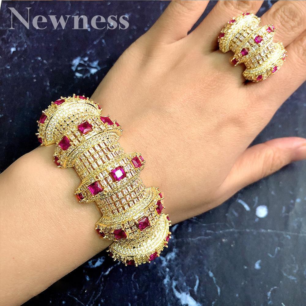 Newness 2 pièces Bracelets/anneau de luxe zircon cubique ouvert bracelet redimensionnable anneaux à la mode filles femmes Patry ensembles de bijoux de mariage