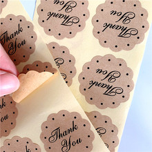 100pcs/lot Cute Thank You Lace Shape Kraft Label Sticker DIY For Handmade Sealing Scrapbooking