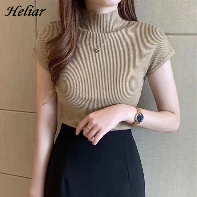 HELIAR Women Summer Knitted T-shirts Plain O-Neck Solid Tops Women Short Sleeve High Street Solid T-shirts Casual Tees For Women 1