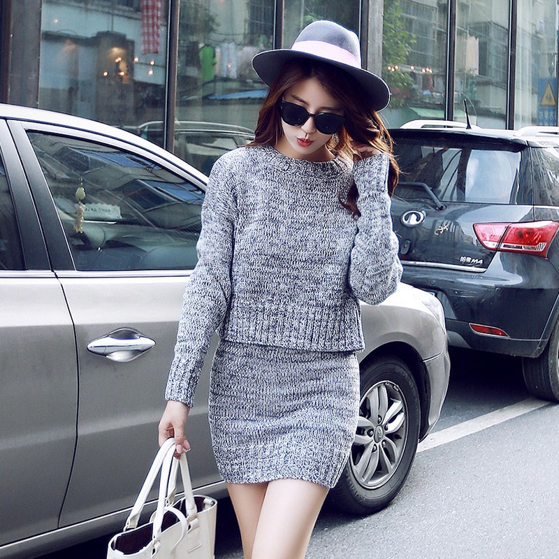 Korean-style Autumn And Winter New Style Fashion Crew Neck Long Sleeve Loose-Fit Slim Fit Pullover Knitted Sweater Suit Skirt Tw