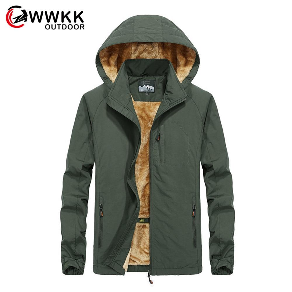 Men's Hiking Jackets Outdoor Sports Clothes Waterproof Coats Hooded Plus Velvet Winter Warm Camping Trekking Skiing Male Jacket