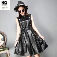 Brand Sexy Genuine Leather Dress Black Short Black Sleeveless Party Leather Dress Slim Autumn Dresses High Quality Women Clothes