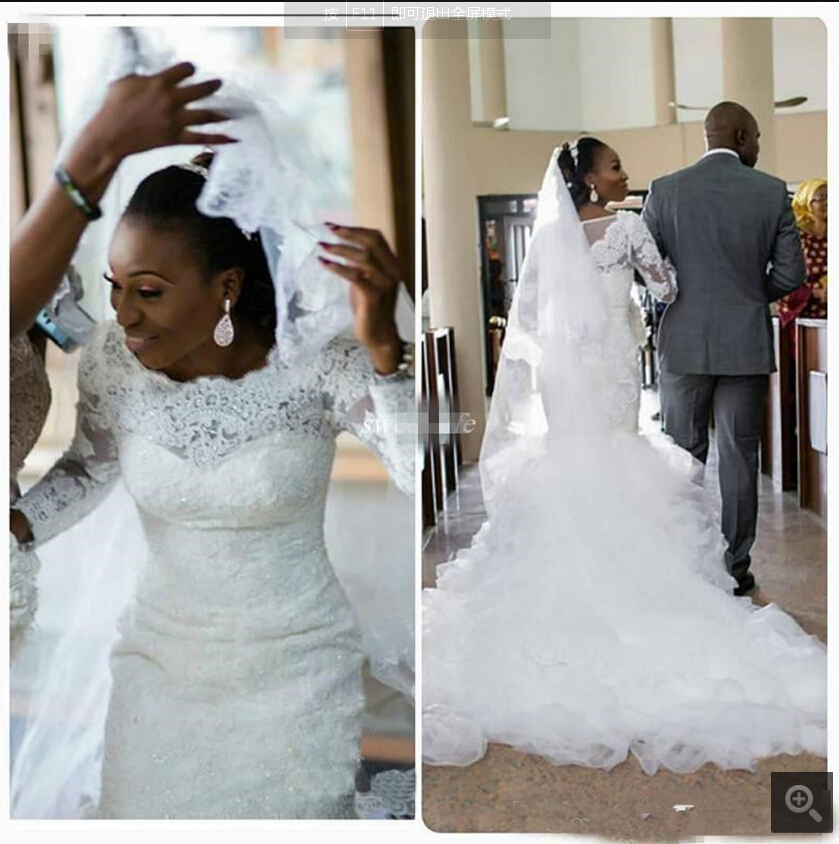 Elegant South African Long Sleeve Mermaid Wedding Gowns 2020 Beaded Lace Appliques Ruffles Modest Bridal Gowns Hot Sale