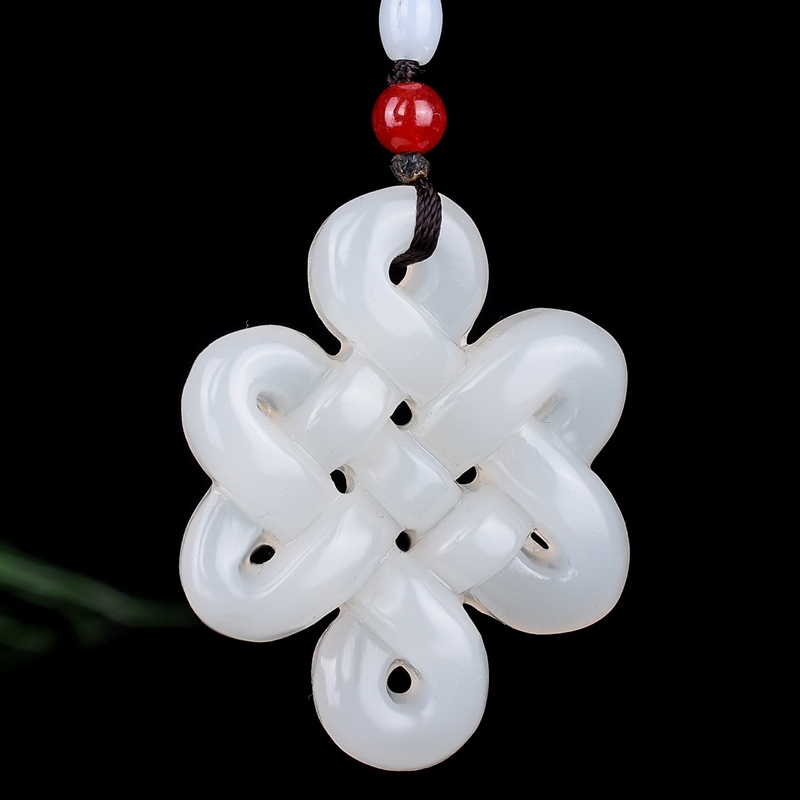 Natural Green White Jade Chinese Knot Pendant Beads Necklace Charm Jewelry Double-sided Hollow Carved Amulet Gifts For Her