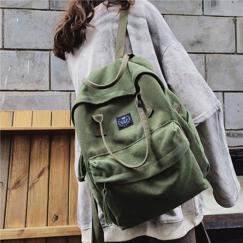 Fashion canvas shoulder bag ladies leisure travel backpack youth student bookbag large capacity laptop backpack Harajuku Mochila image