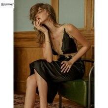 セクシーな女性の夏ナイトシャツナイトドレスパジャマナイトウェアレースシルクサテンvネックガウンlingeire寝間着ナイトガウン