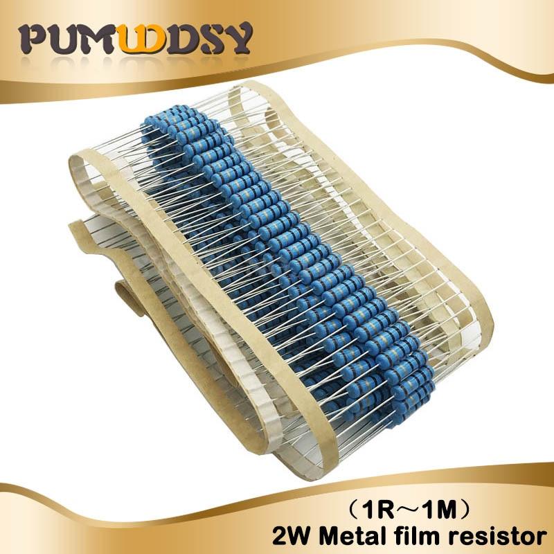 50pcs 2W Metal Film Resistor 1% 1R ~ 1M 2.2R 4.7R 10R 22R 47R 100R 220R 470R 1K 10K 100K 2.2 4.7 10 22 47 100 220 470 Ohm