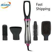 Профессиональный инструмент для укладки волос фен для волос щетка 5 в 1 с горячим воздухом в рулоне прямая электрическая щетка для волос рас...