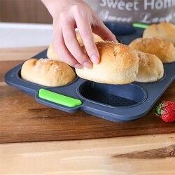 Taca na chleb 8-otwór non-stick siatki DIY elastyczne dobry odporny na wysoką temperaturę z hamburgerami wypiek chleba formy silikonowe gospodarstwa domowego praktyczne