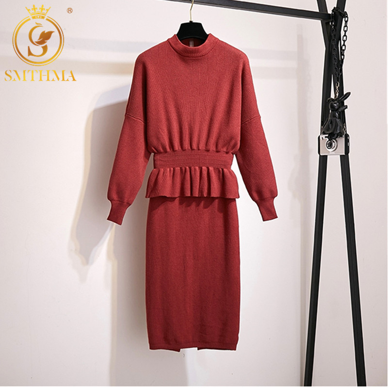 2019 Autumn Winter Women Turtleneck Batwing Sleeve  Ruffle Pullover Sweater+High Waist Skirt Set Elegant Two Piece Clothing Set