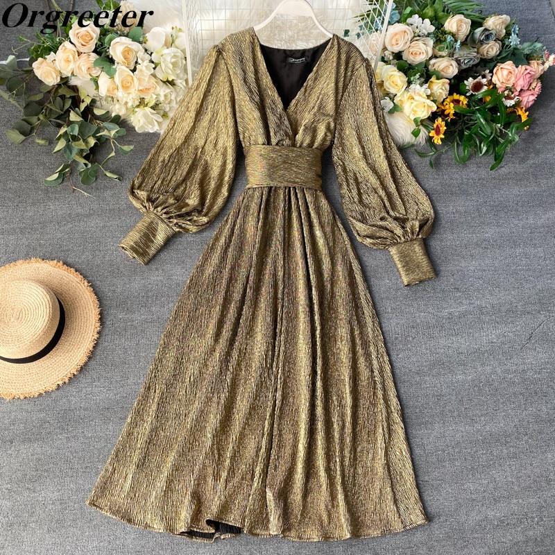 Hot Sale Party Dress Women Slim Puff Sleeve Sexy V-neck Long Robe New 2020 Fashion Bright Golden Bandage Girdle Dresses Vestidos