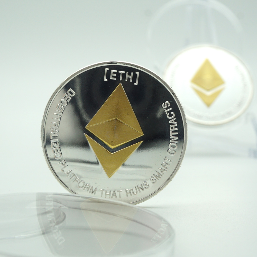ETH золото/серебро с узором эфириум Биткоин тиснением стерео Биткоин цифровая валюта монета физический памятный бит металла repica