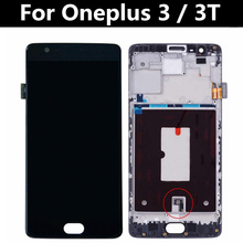 Tested For Oneplus 3T A3000 LCD Display + Touch Screen with Frame Digitizer Assembly Replacement for oppo oneplus 3 a3000 rai lcd display with touch screen digitizer assembly by free dhl 100% warranty 10pc lot