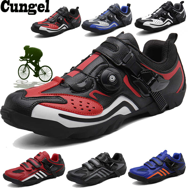 CUNGEL Cycling Shoes Heat Moldable 3K Carbon Fiber Road Bike Sneakers Buckle or 1/2 Shoelaces Self-locking Thermoplastic Bicycle